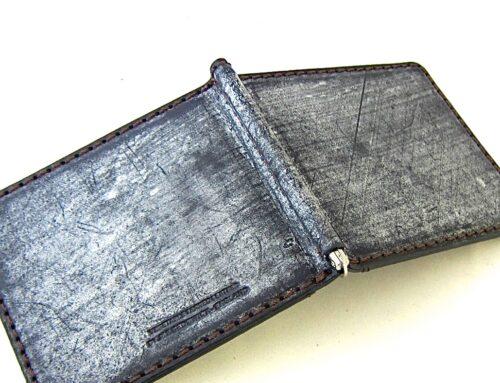 ブライドルレザー製 、カードポケット付きマネークリップ